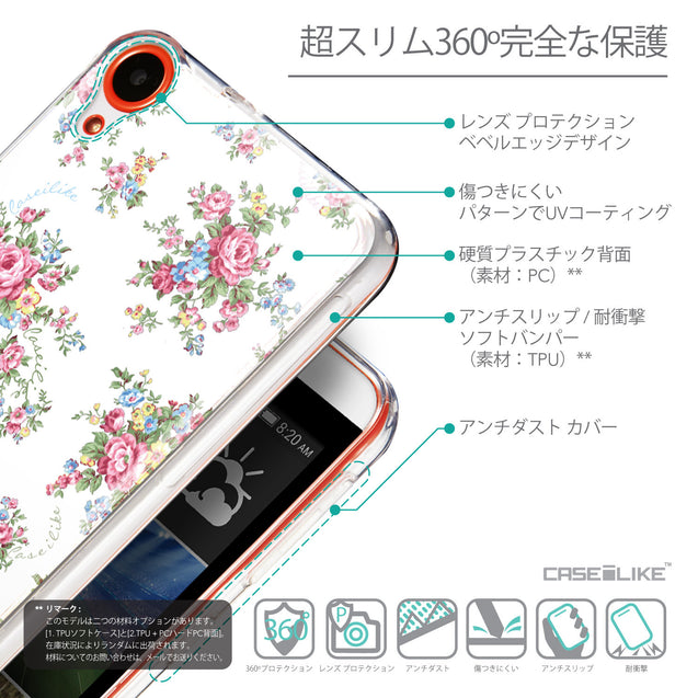 Details in Japanese - CASEiLIKE HTC Desire 820 back cover Floral Rose Classic 2260