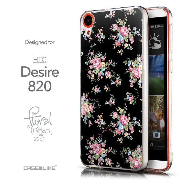 Front & Side View - CASEiLIKE HTC Desire 820 back cover Floral Rose Classic 2261