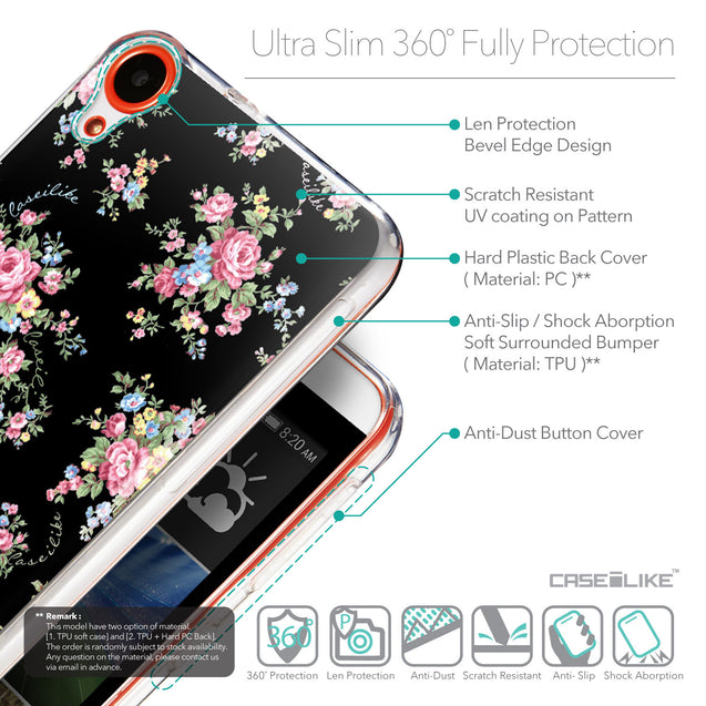 Details in English - CASEiLIKE HTC Desire 820 back cover Floral Rose Classic 2261