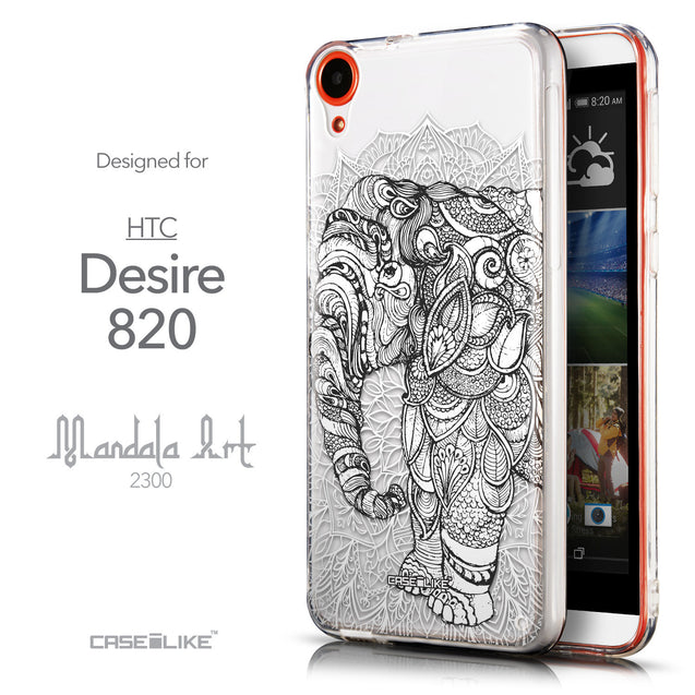 Front & Side View - CASEiLIKE HTC Desire 820 back cover Mandala Art 2300