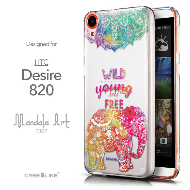 Front & Side View - CASEiLIKE HTC Desire 820 back cover Mandala Art 2302