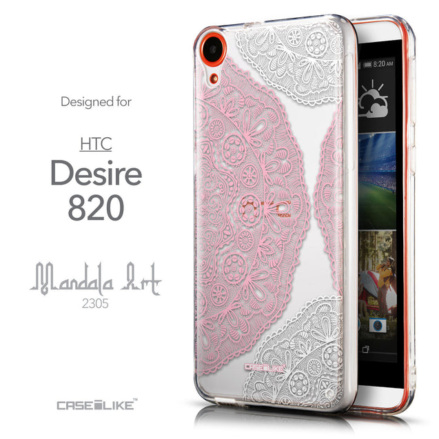 Front & Side View - CASEiLIKE HTC Desire 820 back cover Mandala Art 2305