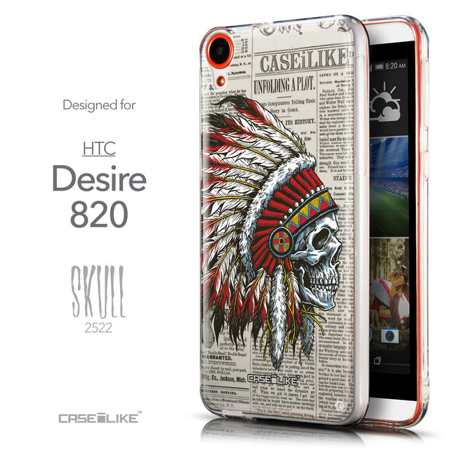 Front & Side View - CASEiLIKE HTC Desire 820 back cover Art of Skull 2522