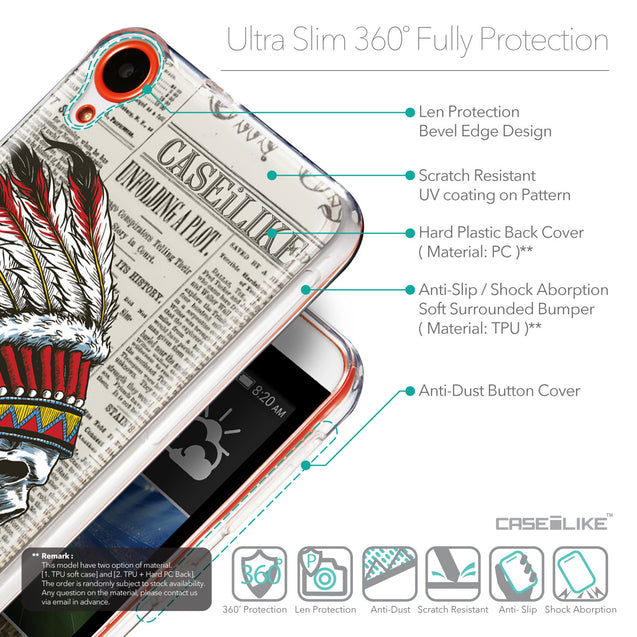 Details in English - CASEiLIKE HTC Desire 820 back cover Art of Skull 2522
