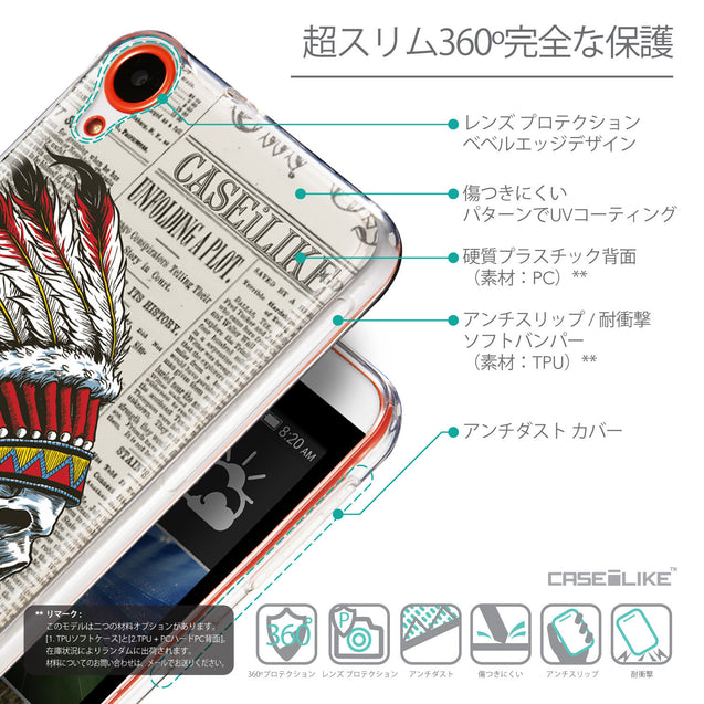 Details in Japanese - CASEiLIKE HTC Desire 820 back cover Art of Skull 2522