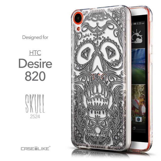 Front & Side View - CASEiLIKE HTC Desire 820 back cover Art of Skull 2524