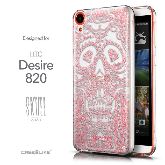 Front & Side View - CASEiLIKE HTC Desire 820 back cover Art of Skull 2525