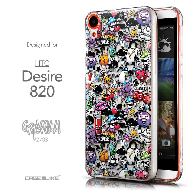 Front & Side View - CASEiLIKE HTC Desire 820 back cover Graffiti 2703