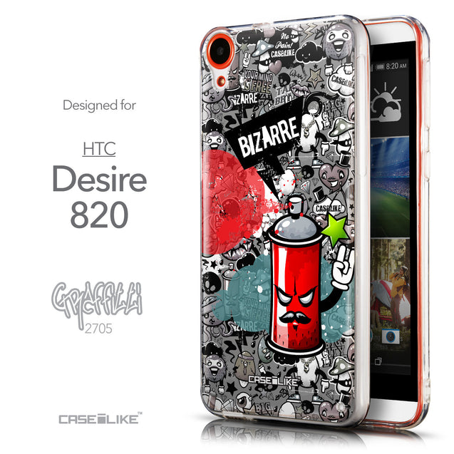 Front & Side View - CASEiLIKE HTC Desire 820 back cover Graffiti 2705