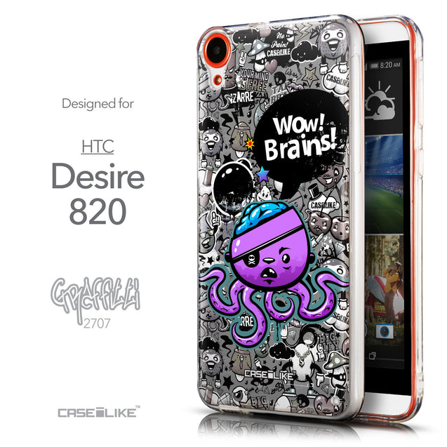 Front & Side View - CASEiLIKE HTC Desire 820 back cover Graffiti 2707