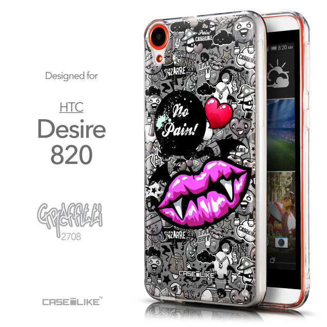 Front & Side View - CASEiLIKE HTC Desire 820 back cover Graffiti 2708