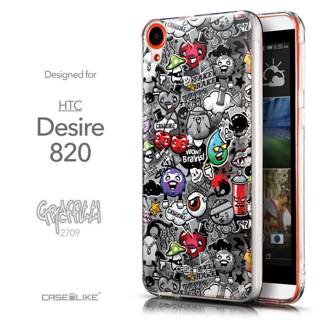 Front & Side View - CASEiLIKE HTC Desire 820 back cover Graffiti 2709