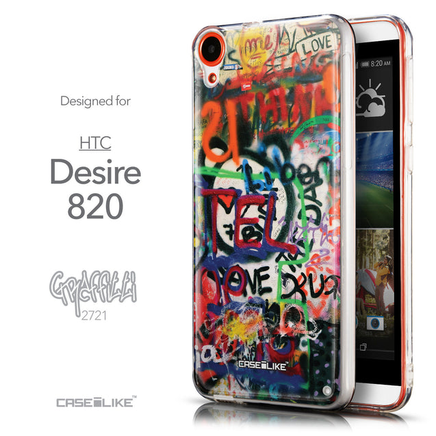 Front & Side View - CASEiLIKE HTC Desire 820 back cover Graffiti 2721