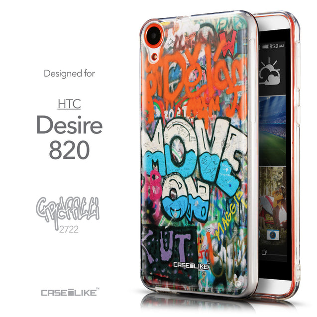 Front & Side View - CASEiLIKE HTC Desire 820 back cover Graffiti 2722