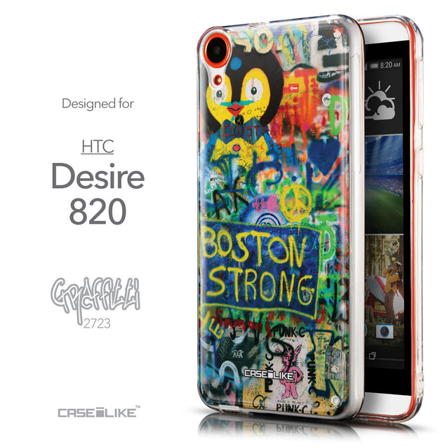 Front & Side View - CASEiLIKE HTC Desire 820 back cover Graffiti 2723