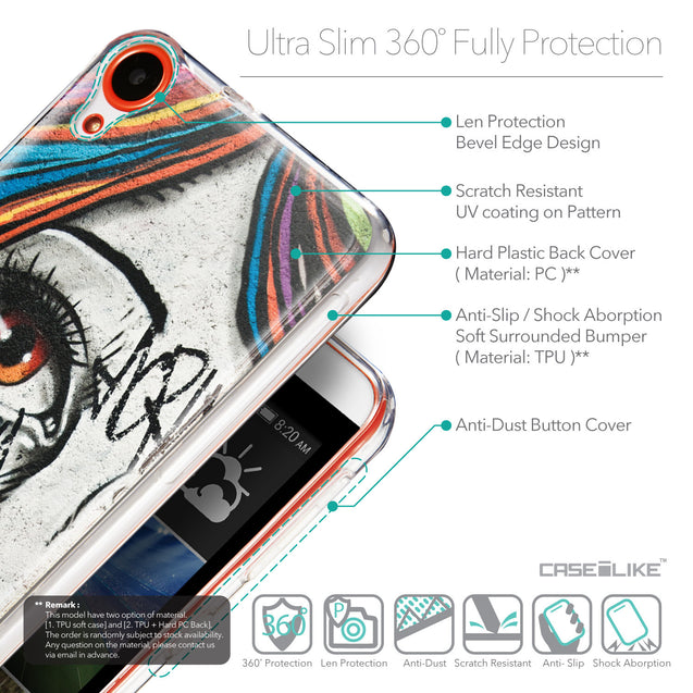 Details in English - CASEiLIKE HTC Desire 820 back cover Graffiti Girl 2724