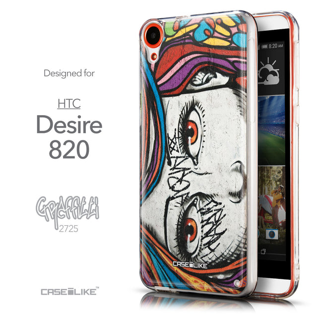 Front & Side View - CASEiLIKE HTC Desire 820 back cover Graffiti Girl 2725