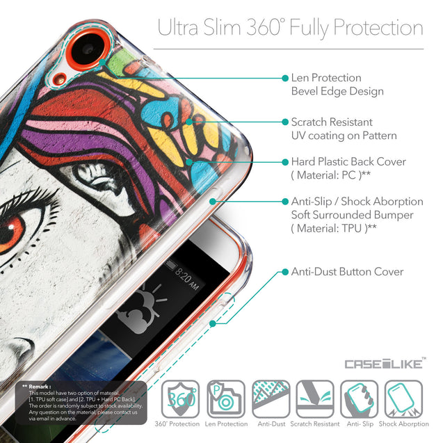 Details in English - CASEiLIKE HTC Desire 820 back cover Graffiti Girl 2725