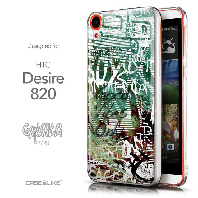 Front & Side View - CASEiLIKE HTC Desire 820 back cover Graffiti 2728