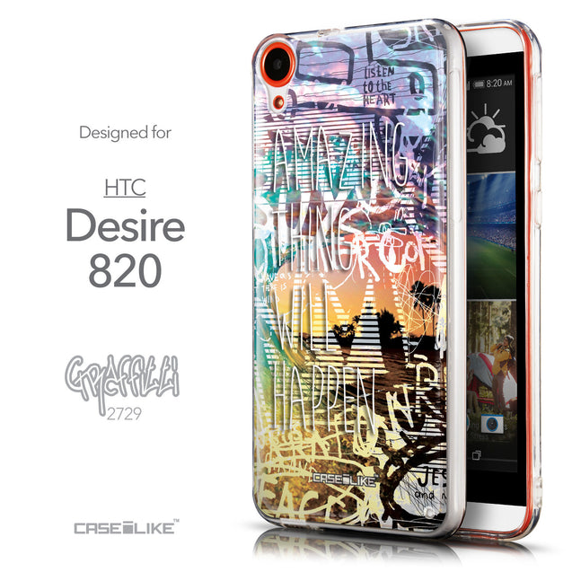Front & Side View - CASEiLIKE HTC Desire 820 back cover Graffiti 2729