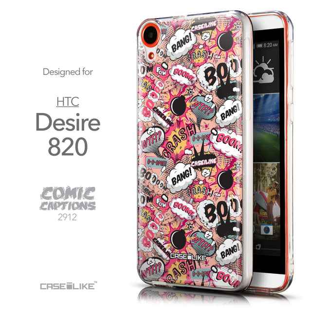 Front & Side View - CASEiLIKE HTC Desire 820 back cover Comic Captions Pink 2912