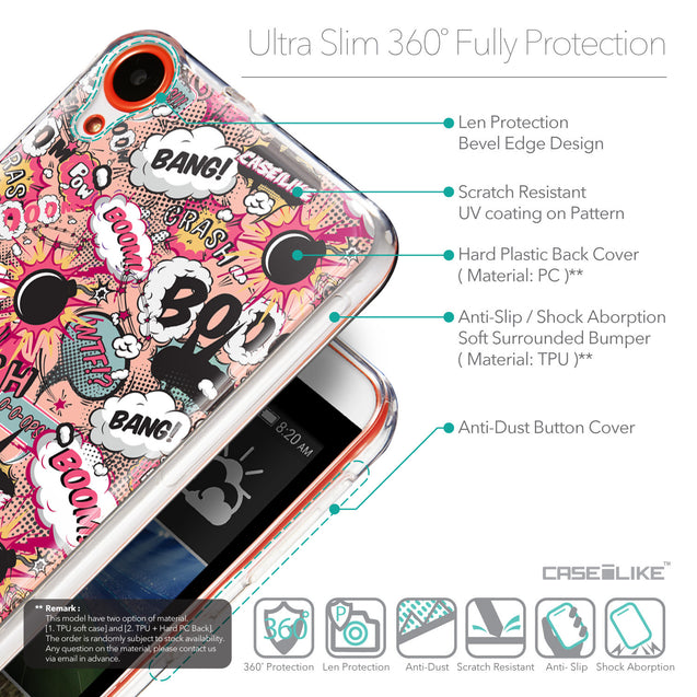 Details in English - CASEiLIKE HTC Desire 820 back cover Comic Captions Pink 2912