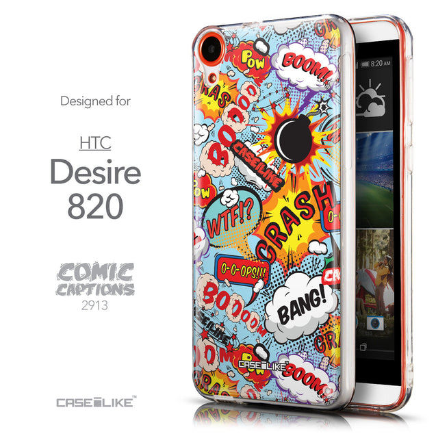 Front & Side View - CASEiLIKE HTC Desire 820 back cover Comic Captions Blue 2913