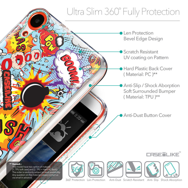 Details in English - CASEiLIKE HTC Desire 820 back cover Comic Captions Blue 2913
