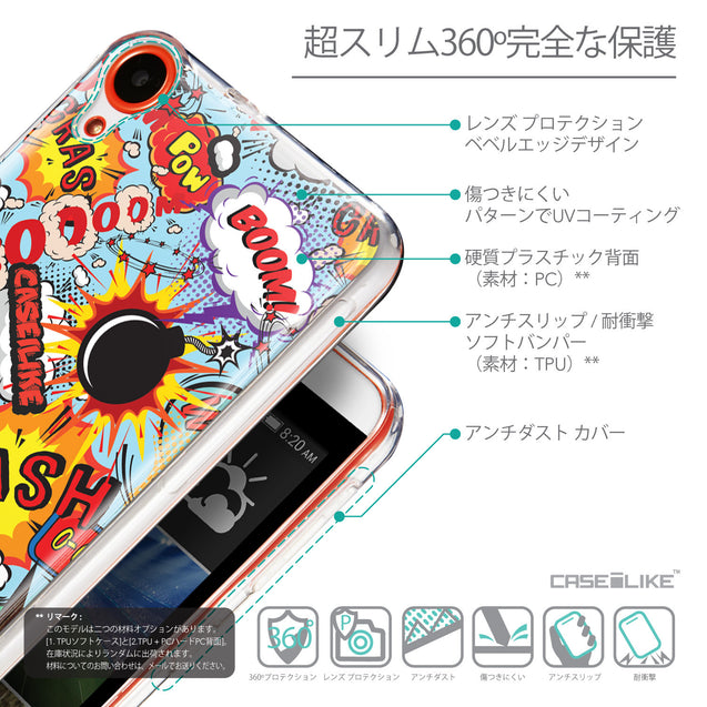 Details in Japanese - CASEiLIKE HTC Desire 820 back cover Comic Captions Blue 2913