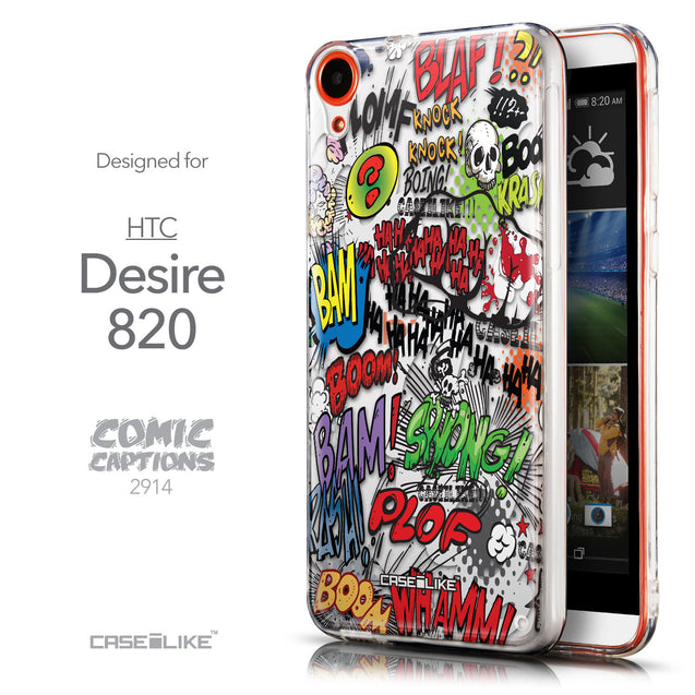 Front & Side View - CASEiLIKE HTC Desire 820 back cover Comic Captions 2914