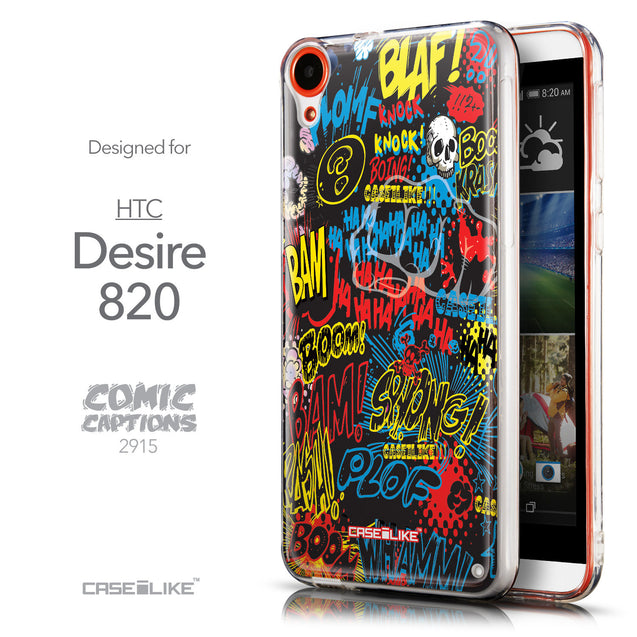 Front & Side View - CASEiLIKE HTC Desire 820 back cover Comic Captions Black 2915