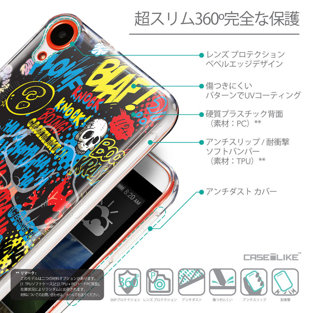 Details in Japanese - CASEiLIKE HTC Desire 820 back cover Comic Captions Black 2915