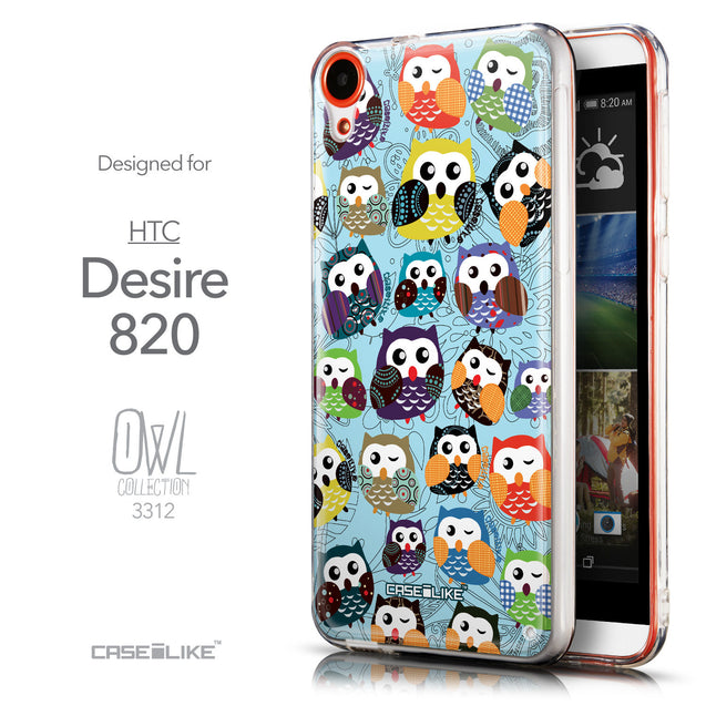 Front & Side View - CASEiLIKE HTC Desire 820 back cover Owl Graphic Design 3312