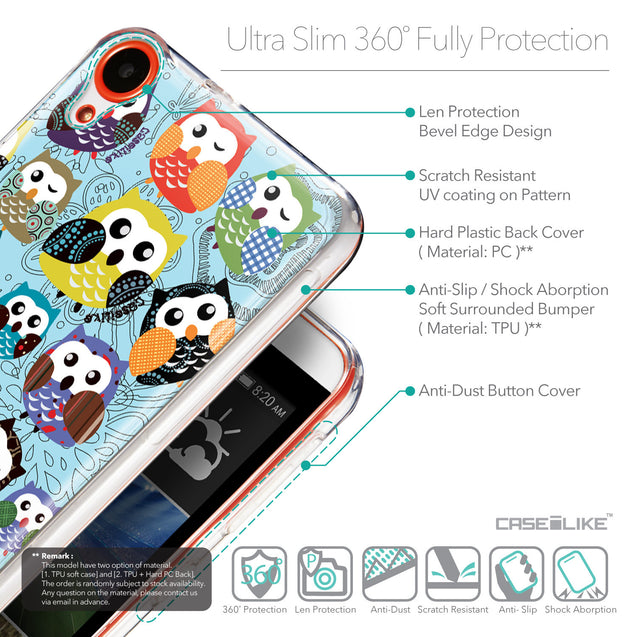Details in English - CASEiLIKE HTC Desire 820 back cover Owl Graphic Design 3312