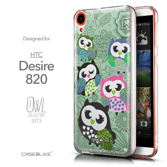 Front & Side View - CASEiLIKE HTC Desire 820 back cover Owl Graphic Design 3313