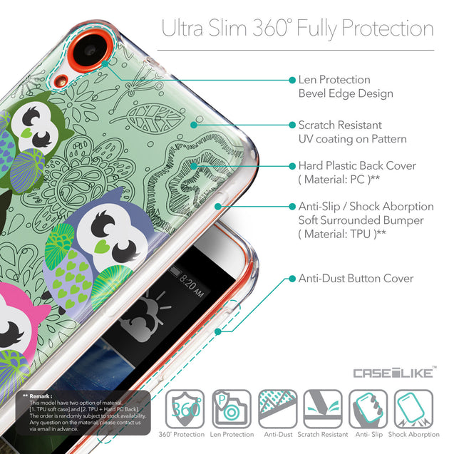 Details in English - CASEiLIKE HTC Desire 820 back cover Owl Graphic Design 3313