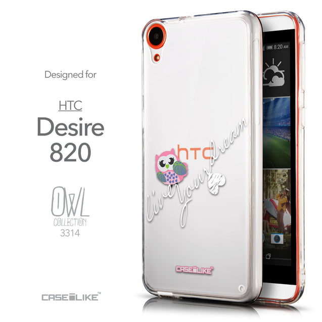 Front & Side View - CASEiLIKE HTC Desire 820 back cover Owl Graphic Design 3314