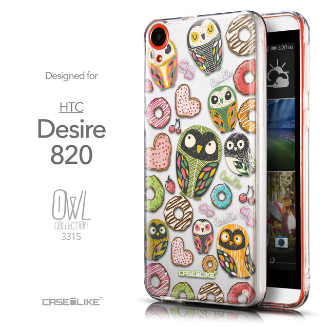 Front & Side View - CASEiLIKE HTC Desire 820 back cover Owl Graphic Design 3315