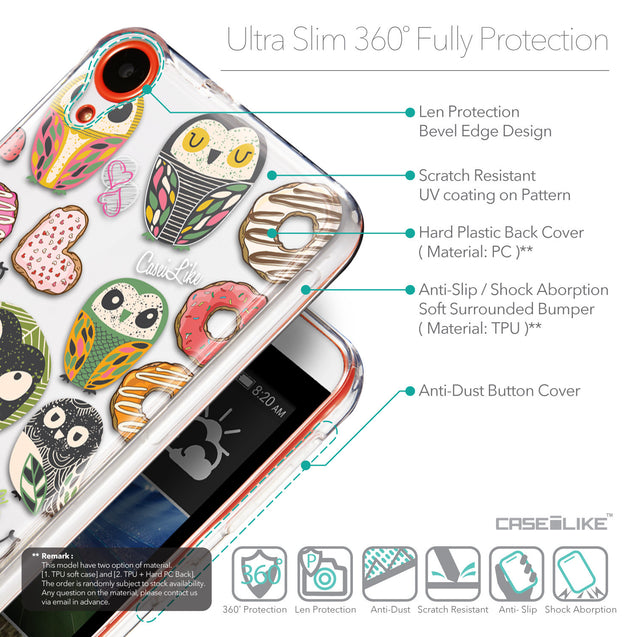 Details in English - CASEiLIKE HTC Desire 820 back cover Owl Graphic Design 3315