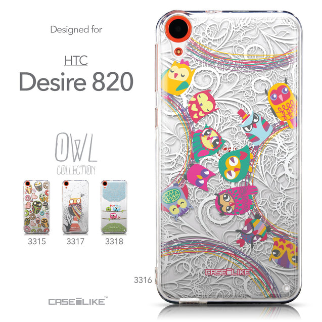 Collection - CASEiLIKE HTC Desire 820 back cover Owl Graphic Design 3316