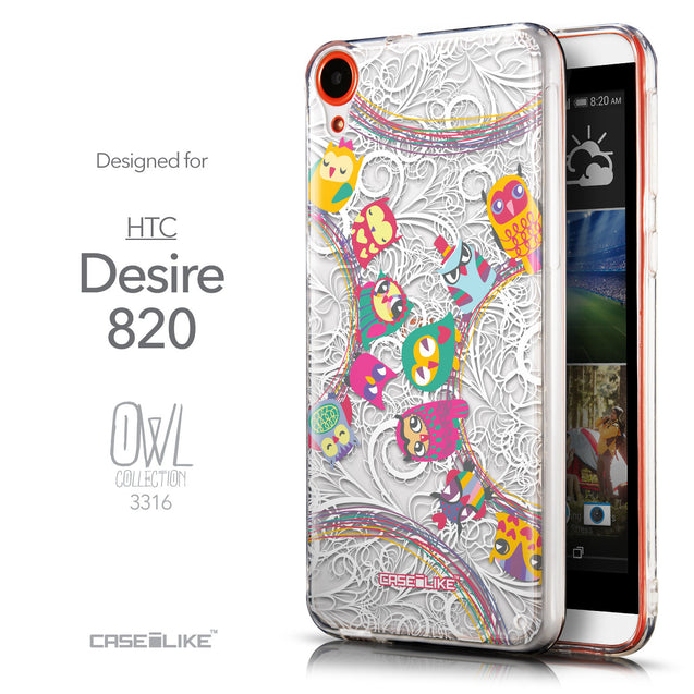 Front & Side View - CASEiLIKE HTC Desire 820 back cover Owl Graphic Design 3316