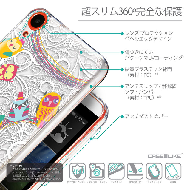 Details in Japanese - CASEiLIKE HTC Desire 820 back cover Owl Graphic Design 3316