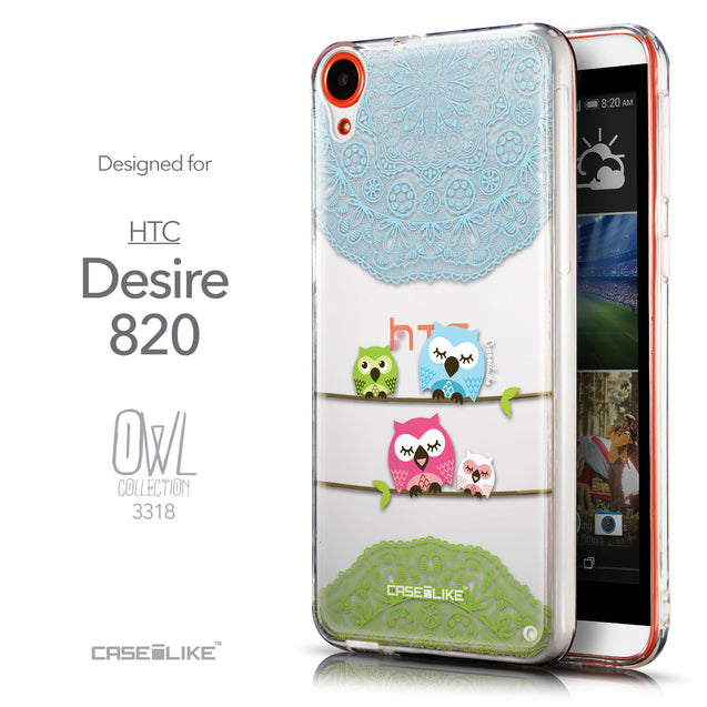 Front & Side View - CASEiLIKE HTC Desire 820 back cover Owl Graphic Design 3318