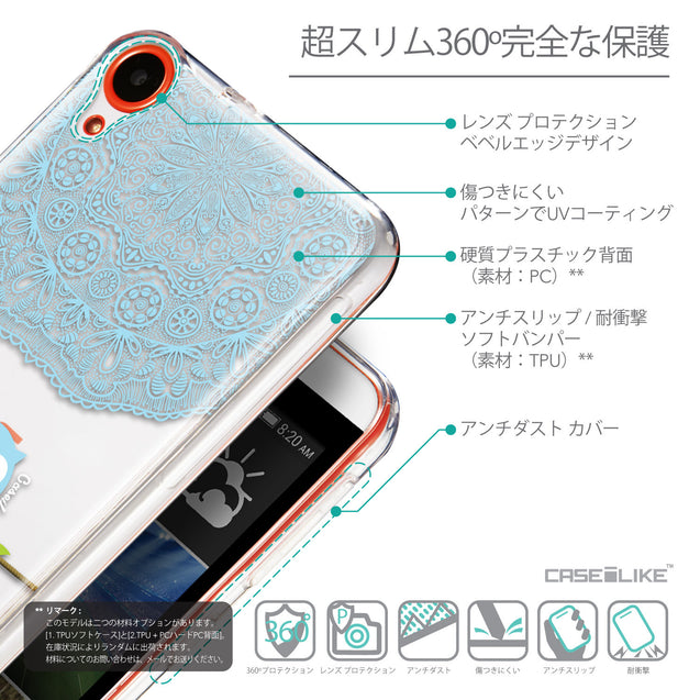 Details in Japanese - CASEiLIKE HTC Desire 820 back cover Owl Graphic Design 3318