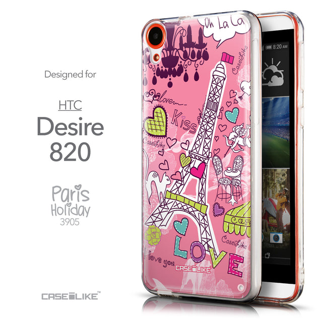 Front & Side View - CASEiLIKE HTC Desire 820 back cover Paris Holiday 3905