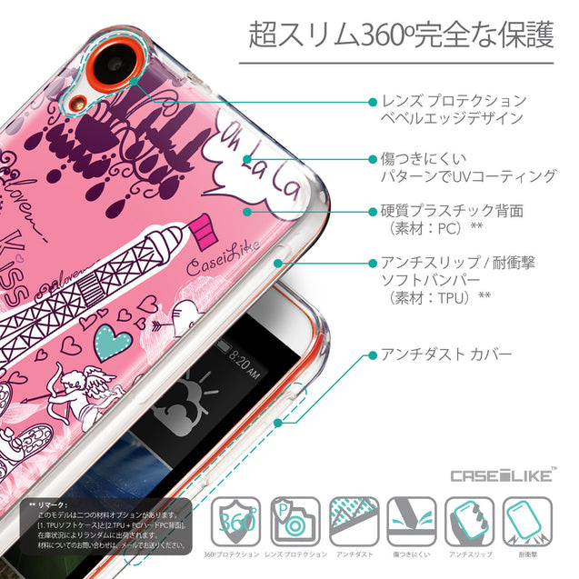Details in Japanese - CASEiLIKE HTC Desire 820 back cover Paris Holiday 3905