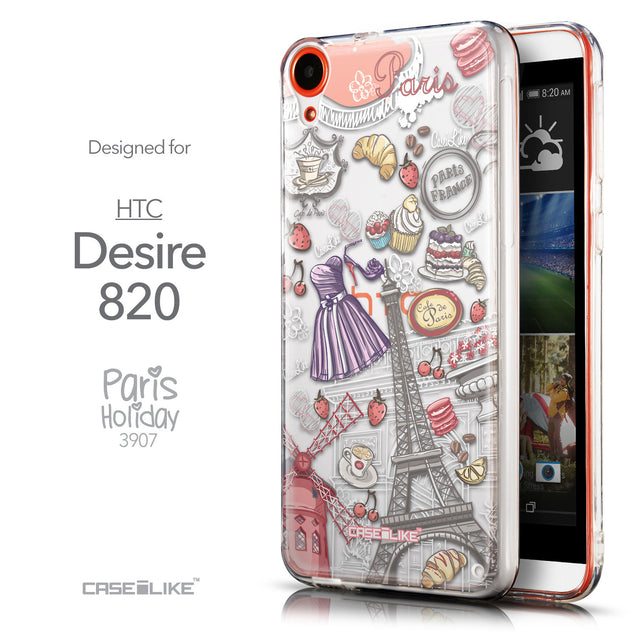 Front & Side View - CASEiLIKE HTC Desire 820 back cover Paris Holiday 3907