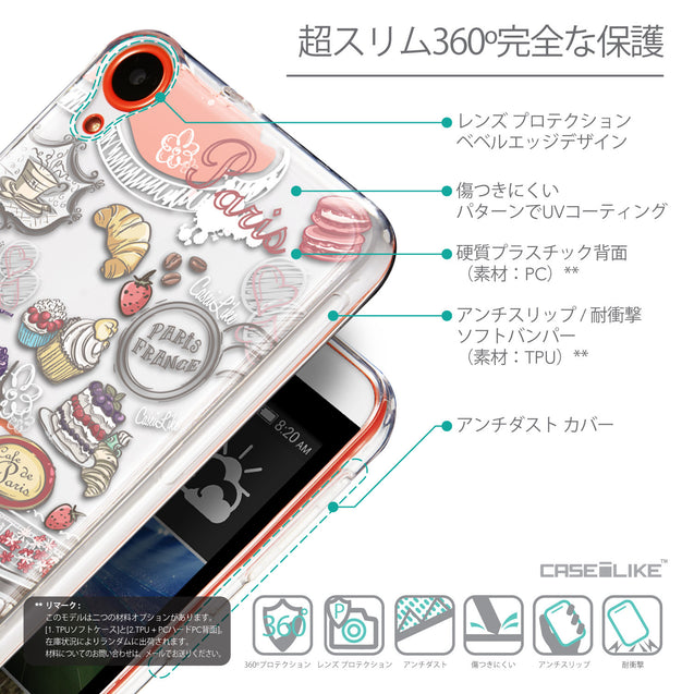 Details in Japanese - CASEiLIKE HTC Desire 820 back cover Paris Holiday 3907
