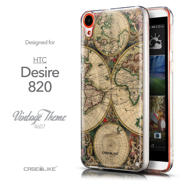 Front & Side View - CASEiLIKE HTC Desire 820 back cover World Map Vintage 4607