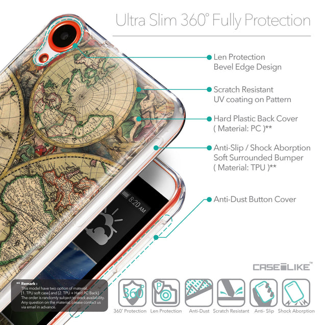 Details in English - CASEiLIKE HTC Desire 820 back cover World Map Vintage 4607